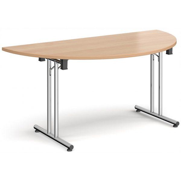 Semi-Circular Folding Straight Leg Table